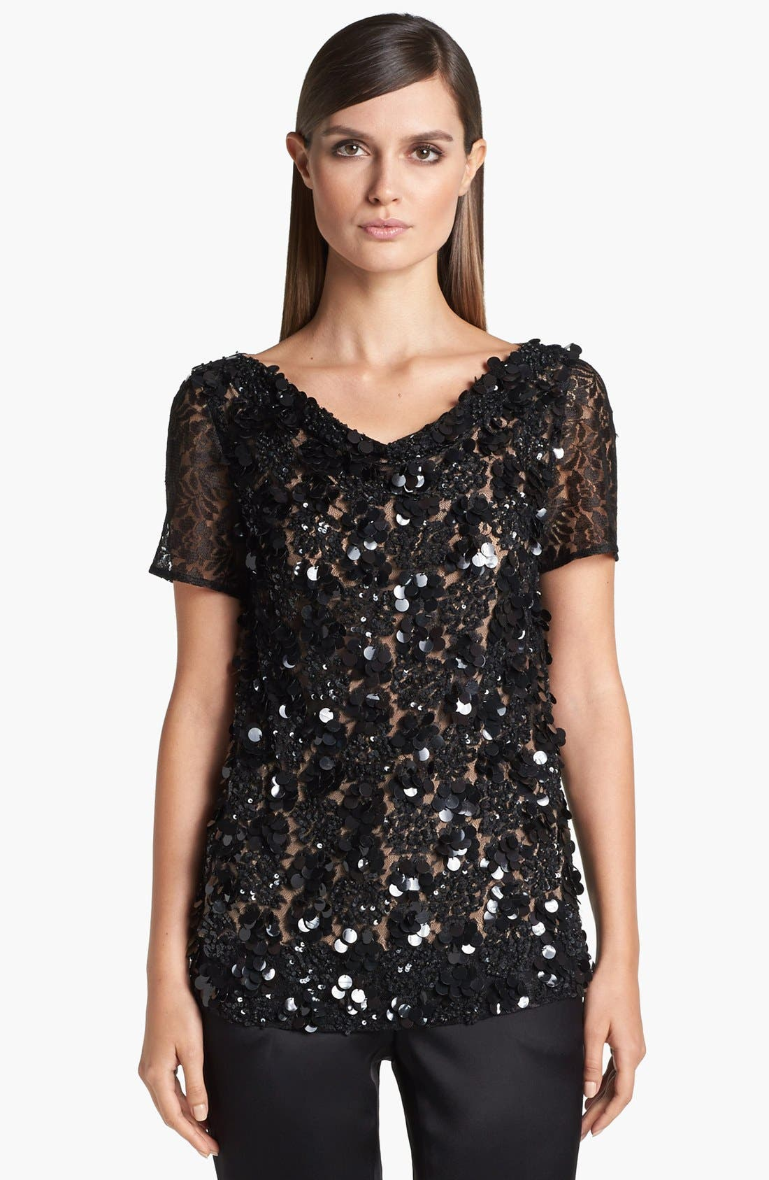 Main Image - St. John Collection Cowl Neck Beaded Lace Top