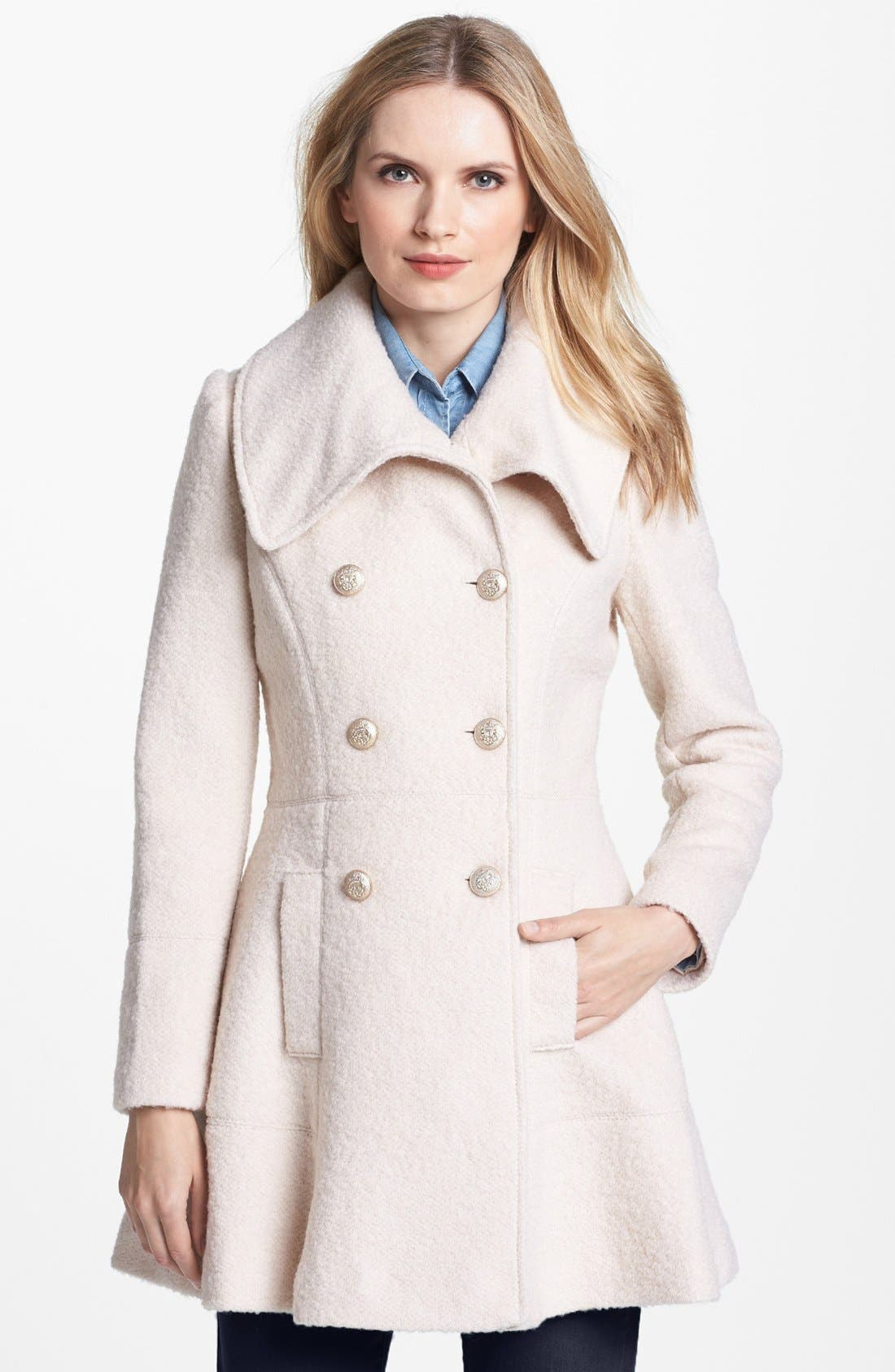 Alternate Image 1 Selected - GUESS Double Breasted Bouclé Coat (Regular & Petite)