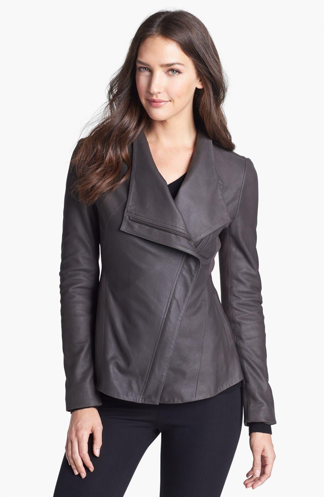Alternate Image 1 Selected - Elie Tahari 'Constance' Peplum Back Leather Jacket