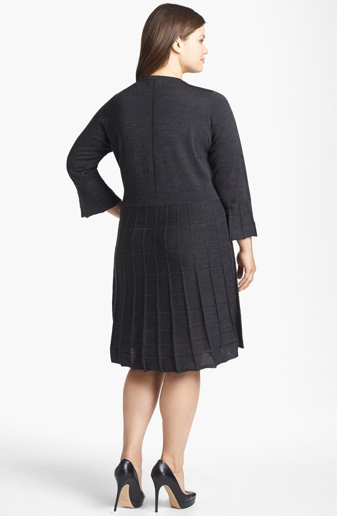 Alternate Image 2  - Calvin Klein Fit & Flare Textured Sweater Dress (Plus Size)