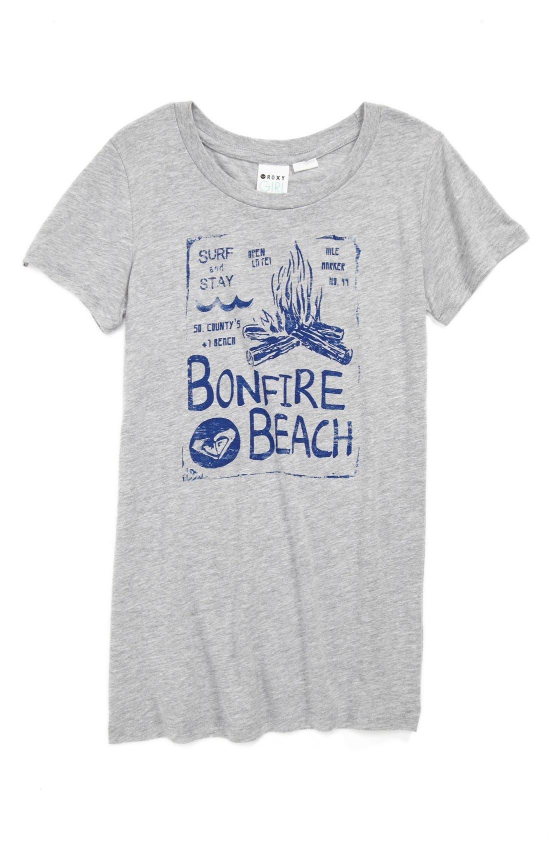 Main Image - Roxy 'Bonfire Beach' Graphic Tee (Big Girls)