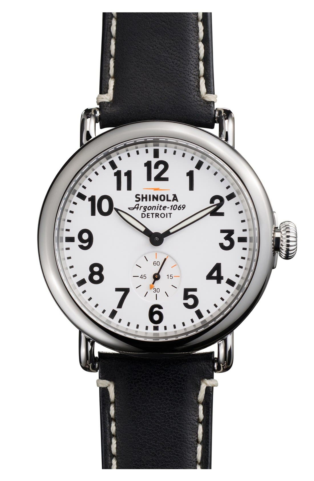 'The Runwell' Leather Strap Watch, 41mm,                         Main,                         color, Black/ White