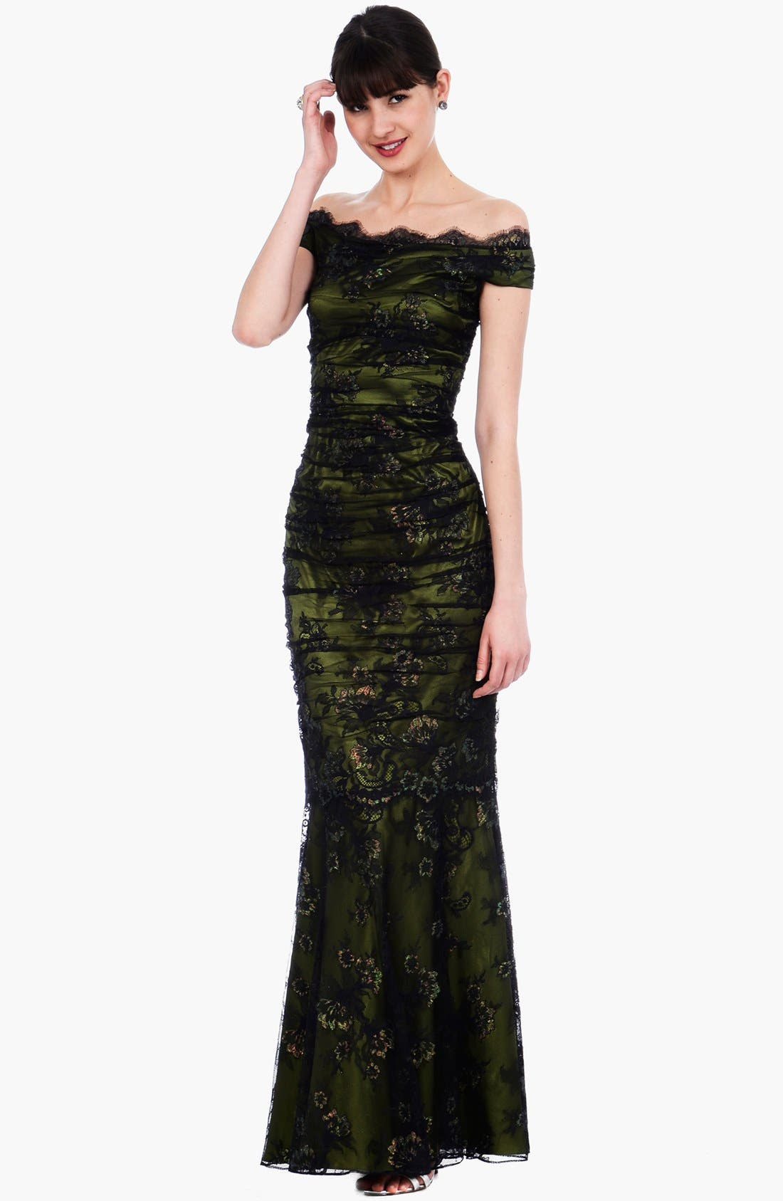 Alternate Image 1 Selected - Kay Unger Ruched Lace Off Shoulder Mermaid Gown