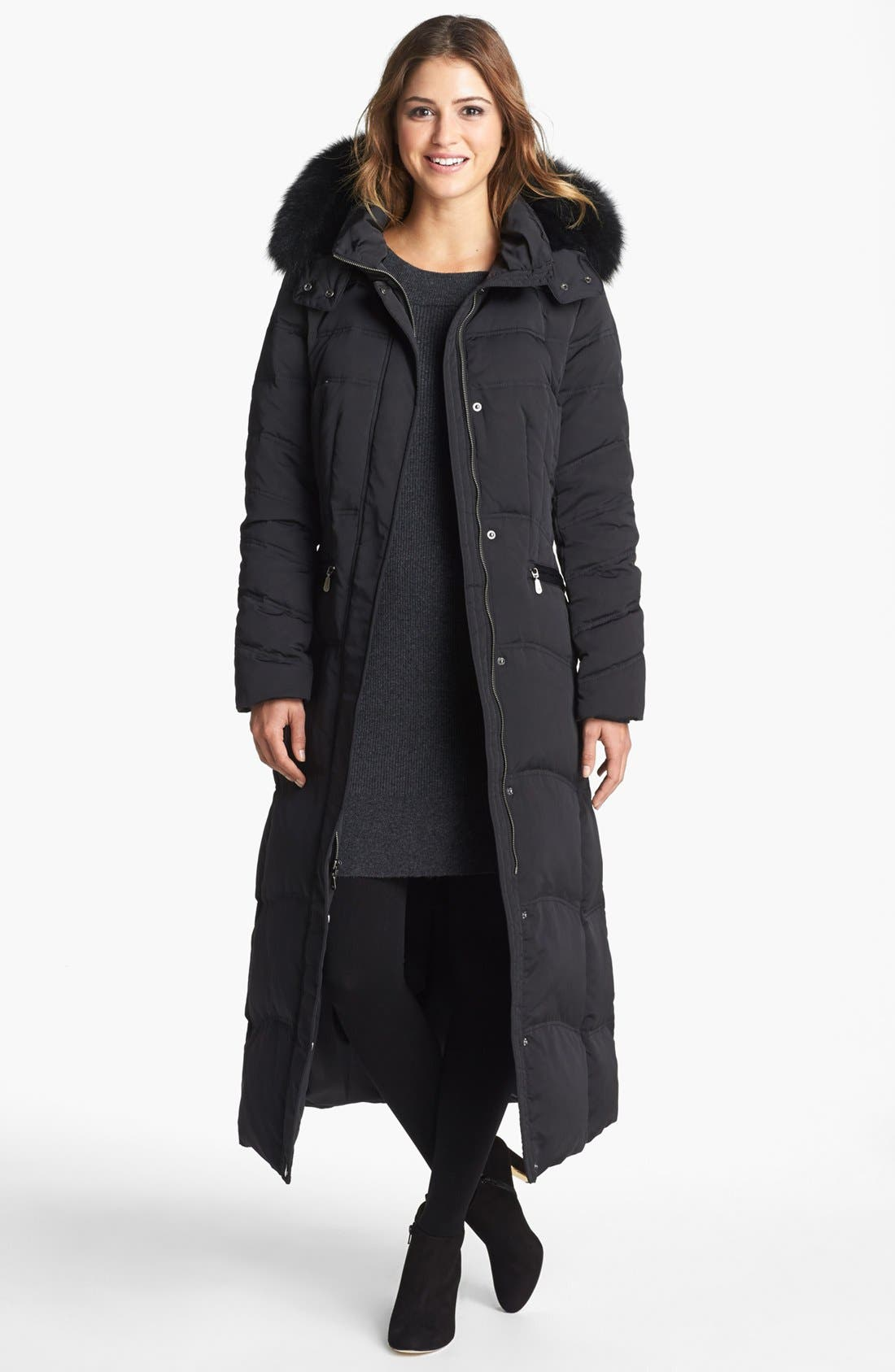 Alternate Image 1 Selected - 1 Madison Genuine Fox Fur Trim Long Down & Feather Coat