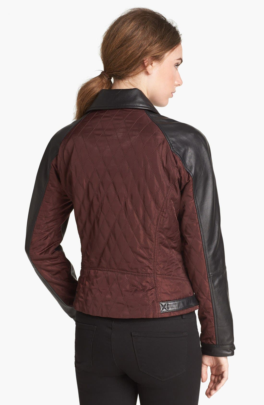 Alternate Image 2  - Vince Camuto Leather & Quilted Fabric Moto Jacket (Online Only)
