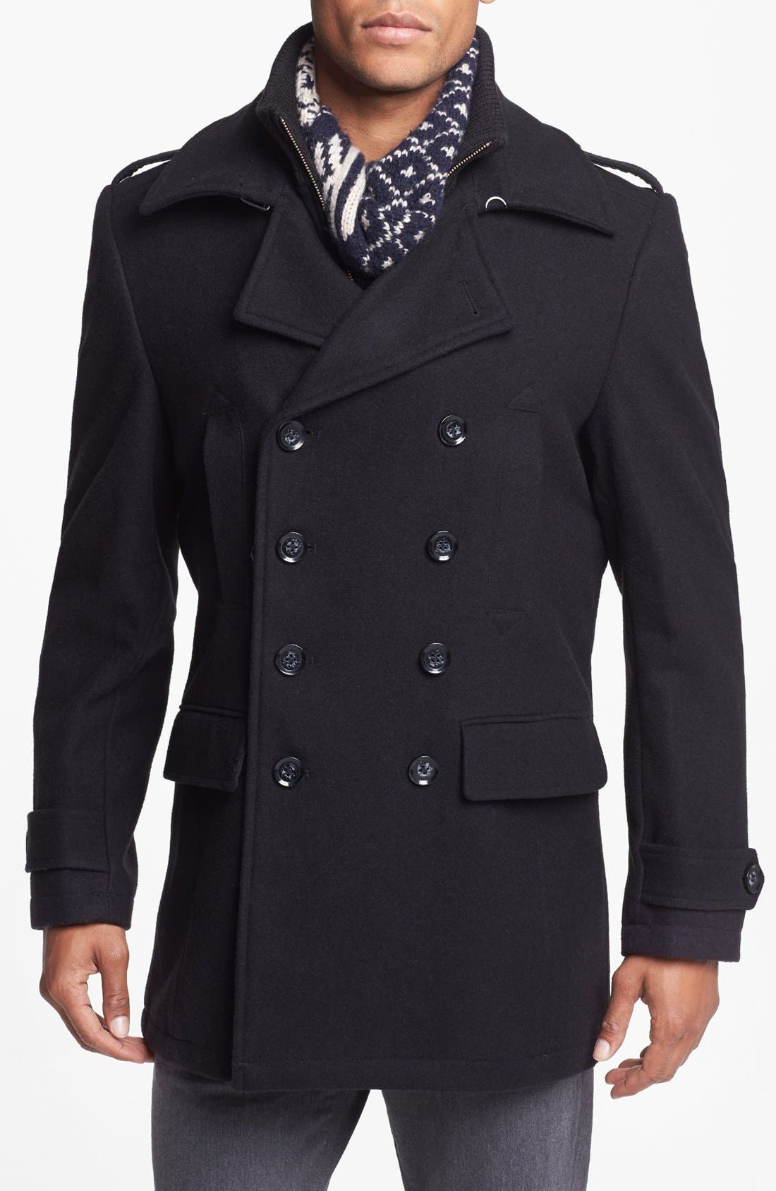 Main Image - 7 Diamonds 'Glasgow' Regular Fit Double Breasted Peacoat