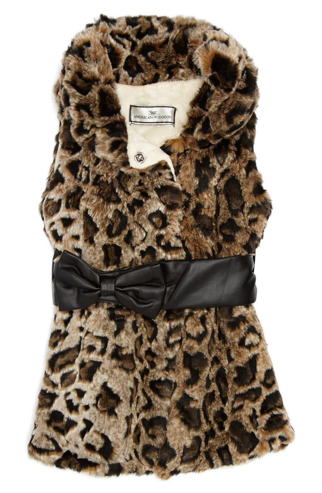 Main Image - Widgeon 'Bow' Faux Fur Vest (Little Girls)
