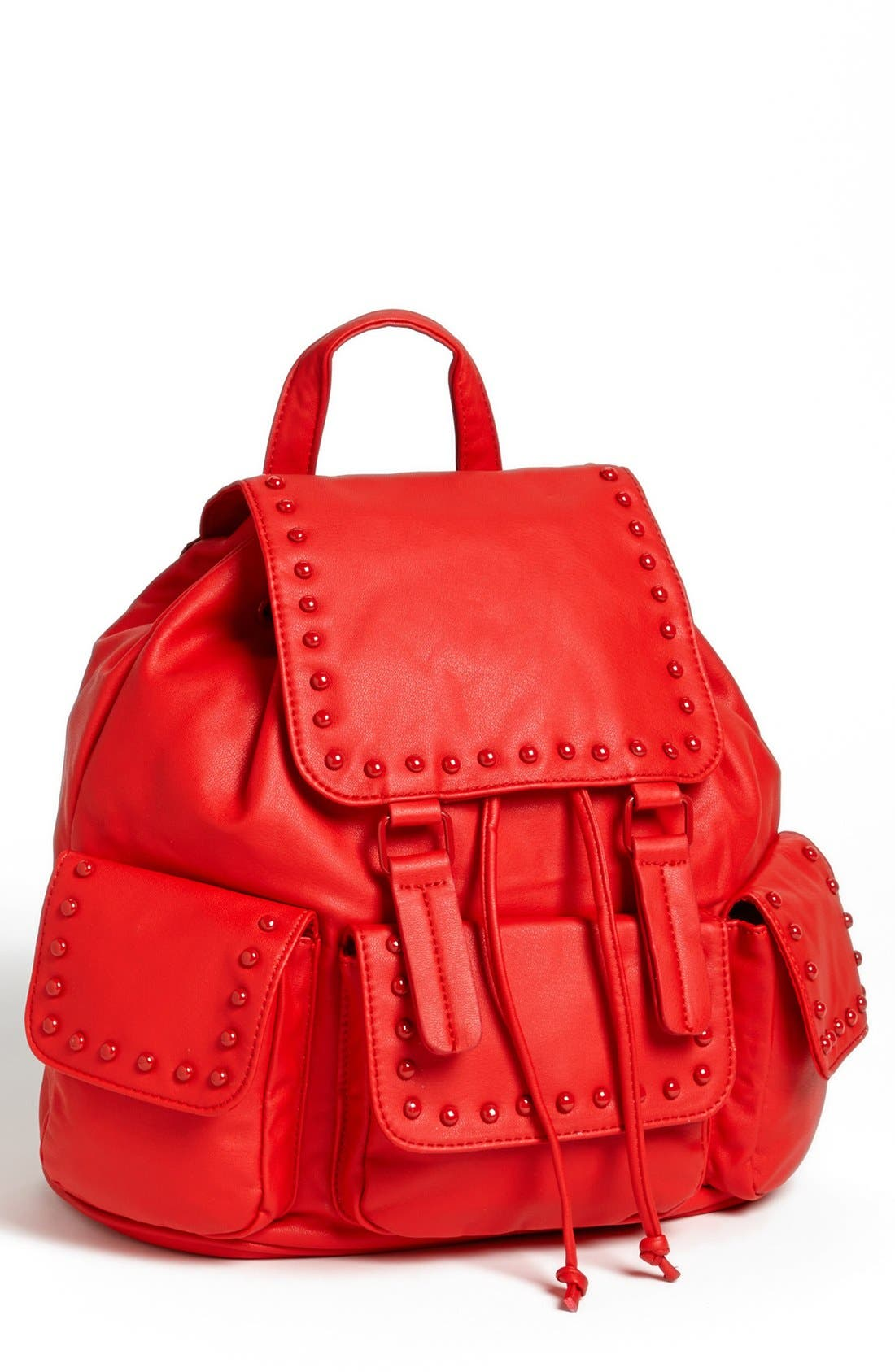 Alternate Image 1 Selected - Cesca Enameled Studded Faux Leather Backpack (Juniors) (Online Only)