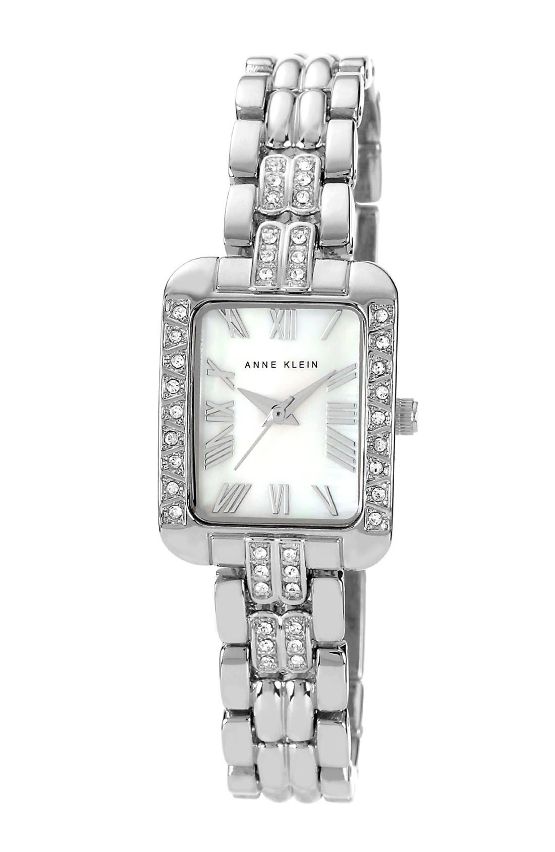 Main Image - Anne Klein Rectangular Case Bracelet Watch, 22mm x 28mm