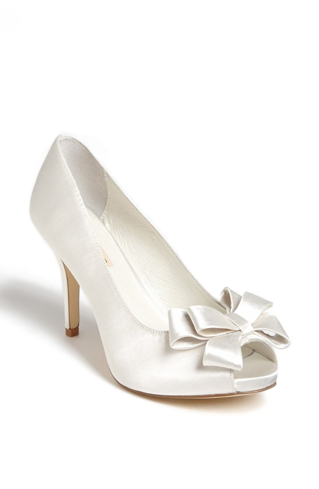 Bow Peep Toe Pump,                             Main thumbnail 1, color,                             Ivory