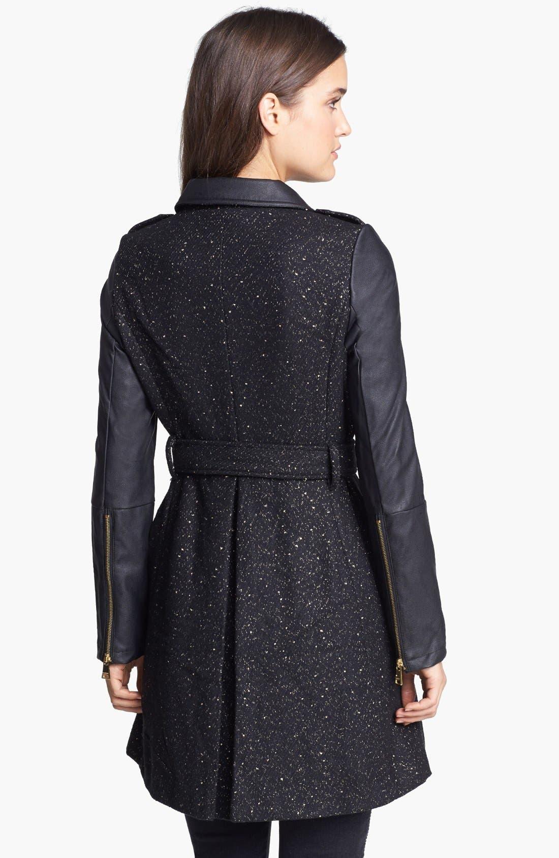 Alternate Image 2  - bebe Asymmetrical Tweed & Faux Leather Coat