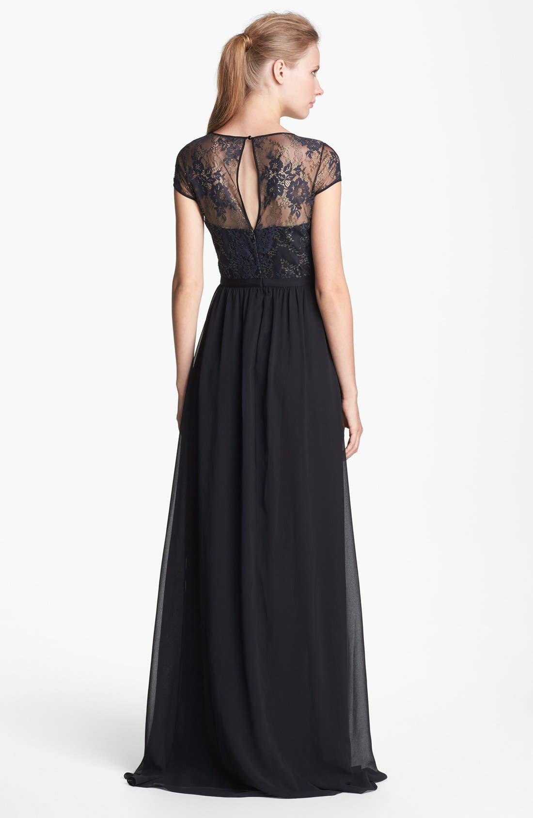 Alternate Image 2  - ERIN erin fetherston 'Peyton' Illusion Yoke Chiffon Gown