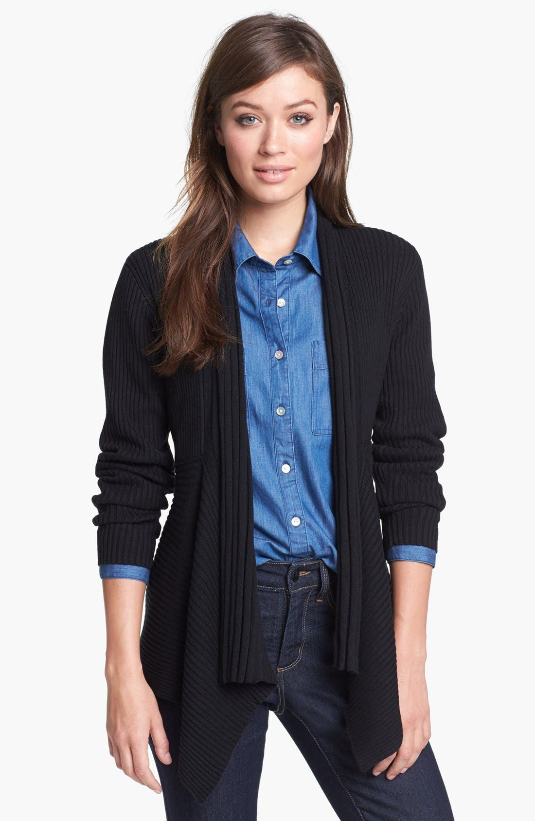 Alternate Image 1 Selected - Chaus Drape Front Cardigan
