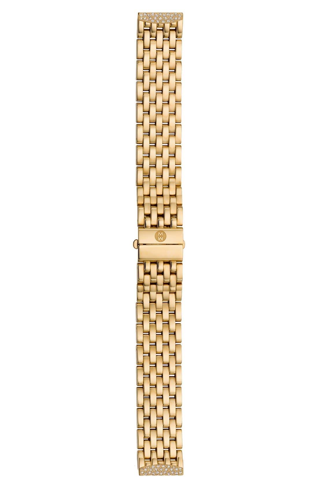 Alternate Image 2  - MICHELE 'Urban Mini Diamond' 16mm Gold Plated Bracelet Watchband