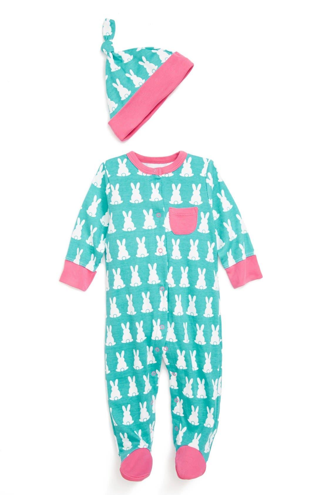 Alternate Image 1 Selected - Offspring Footie & Hat (Baby Girls)