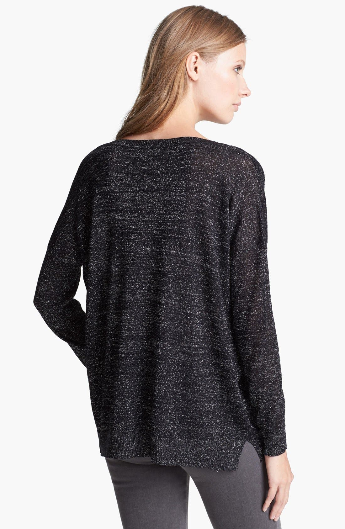 'Calee' Metallic Sweater,                             Alternate thumbnail 2, color,                             Caviar/ Silver