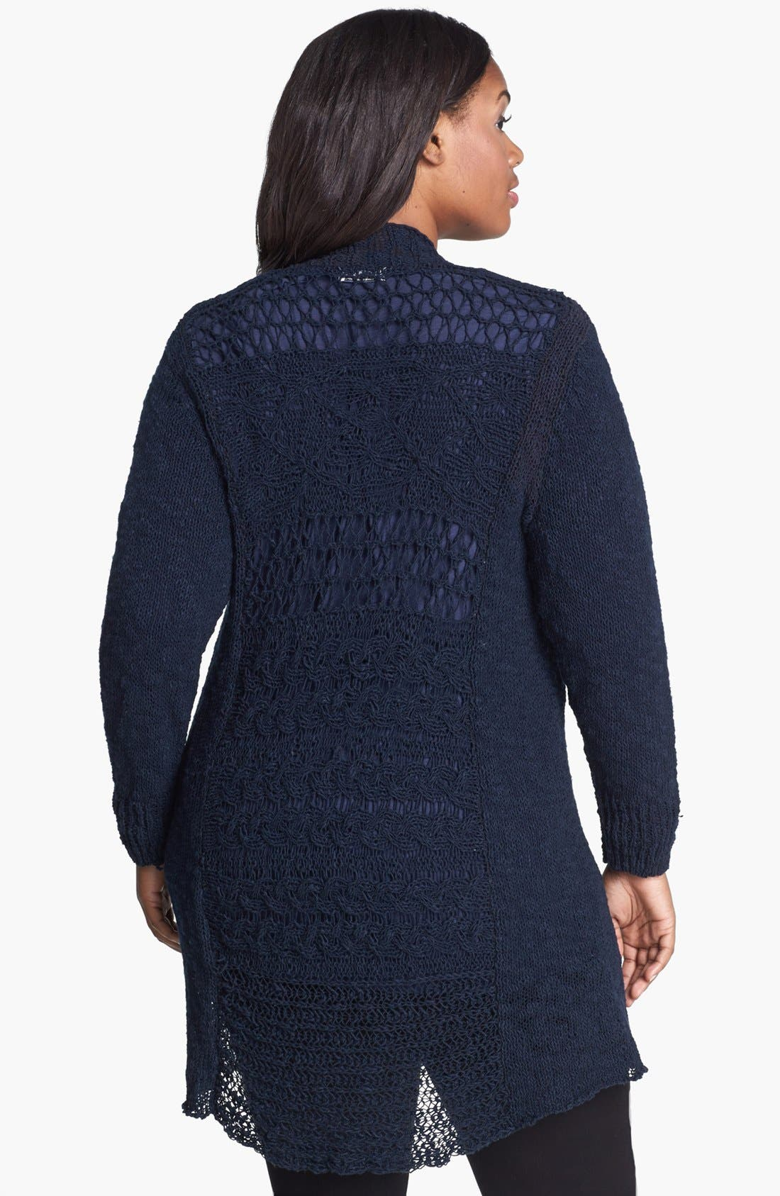 Alternate Image 2  - Lucky Brand 'Alonsa' Mixed Knit Cardigan (Plus Size)