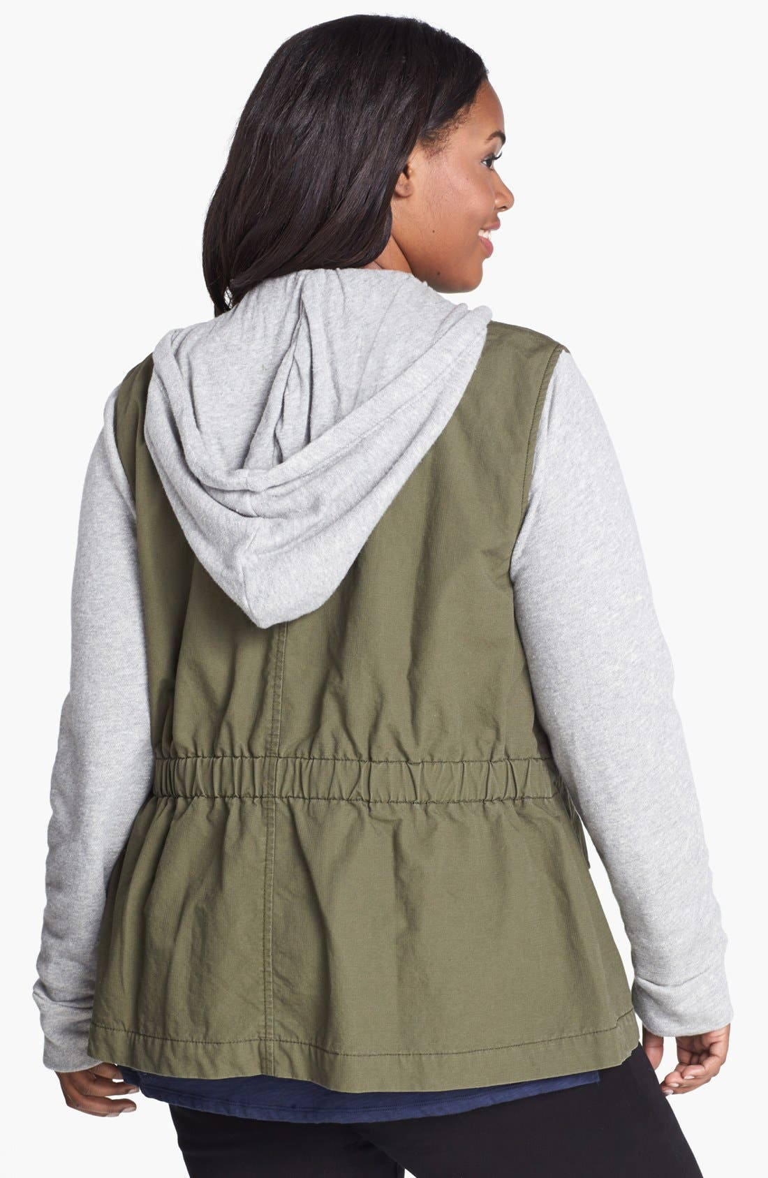 Alternate Image 2  - Lucky Brand French Terry Military Jacket (Plus Size)
