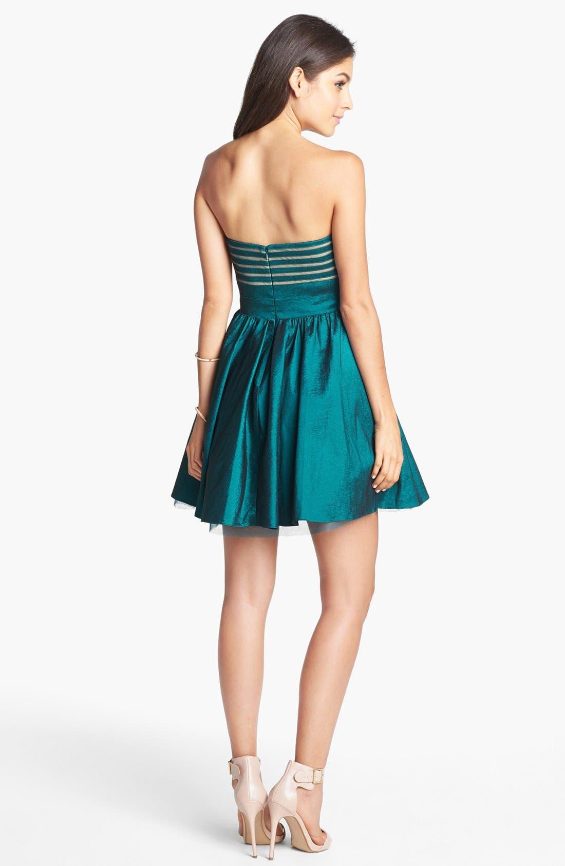 Alternate Image 2  - Aidan Mattox Strapless Taffeta Fit & Flare Dress (Online Only)