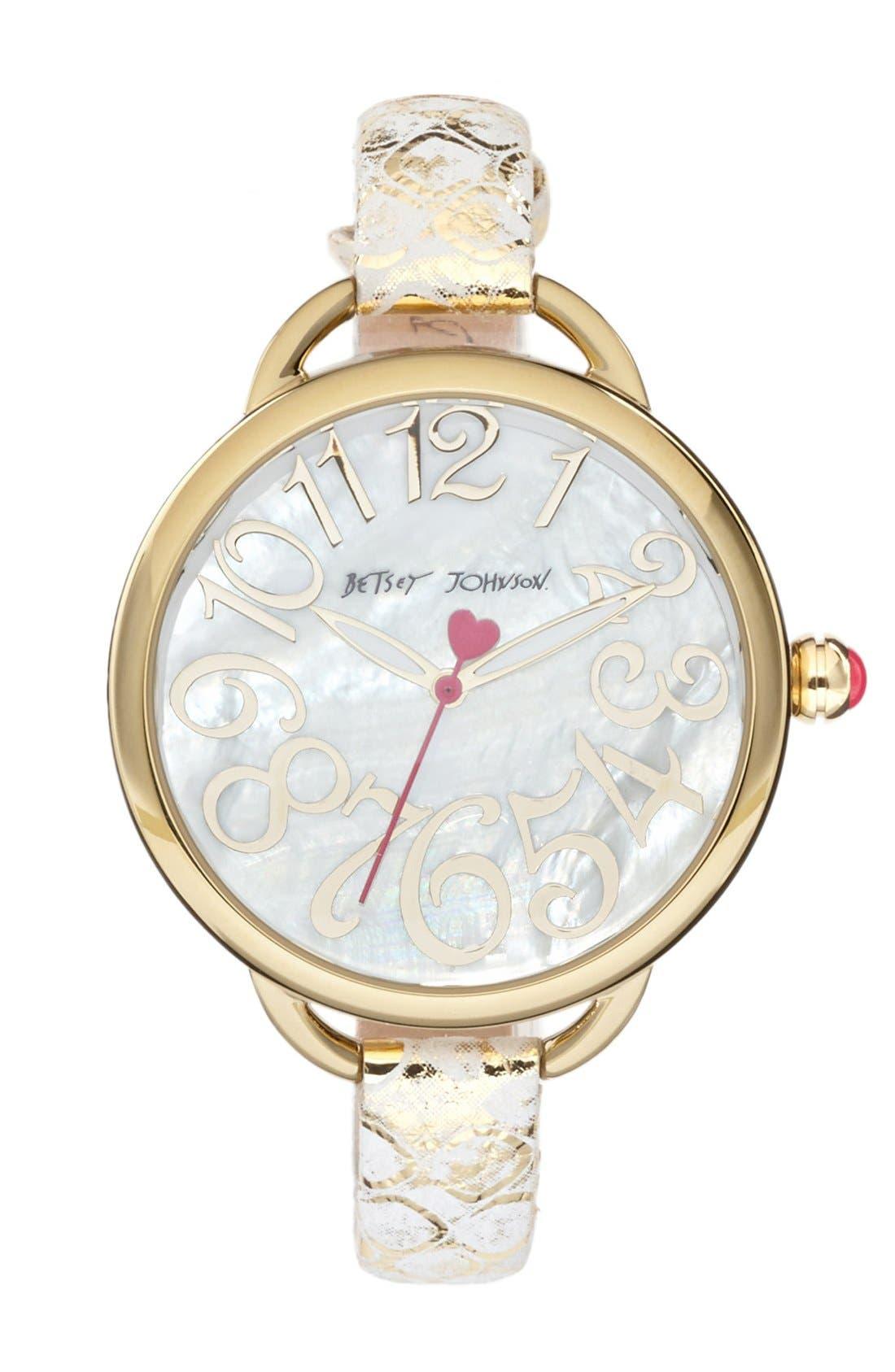 Main Image - Betsey Johnson Round Metallic Leather Strap Watch, 39mm