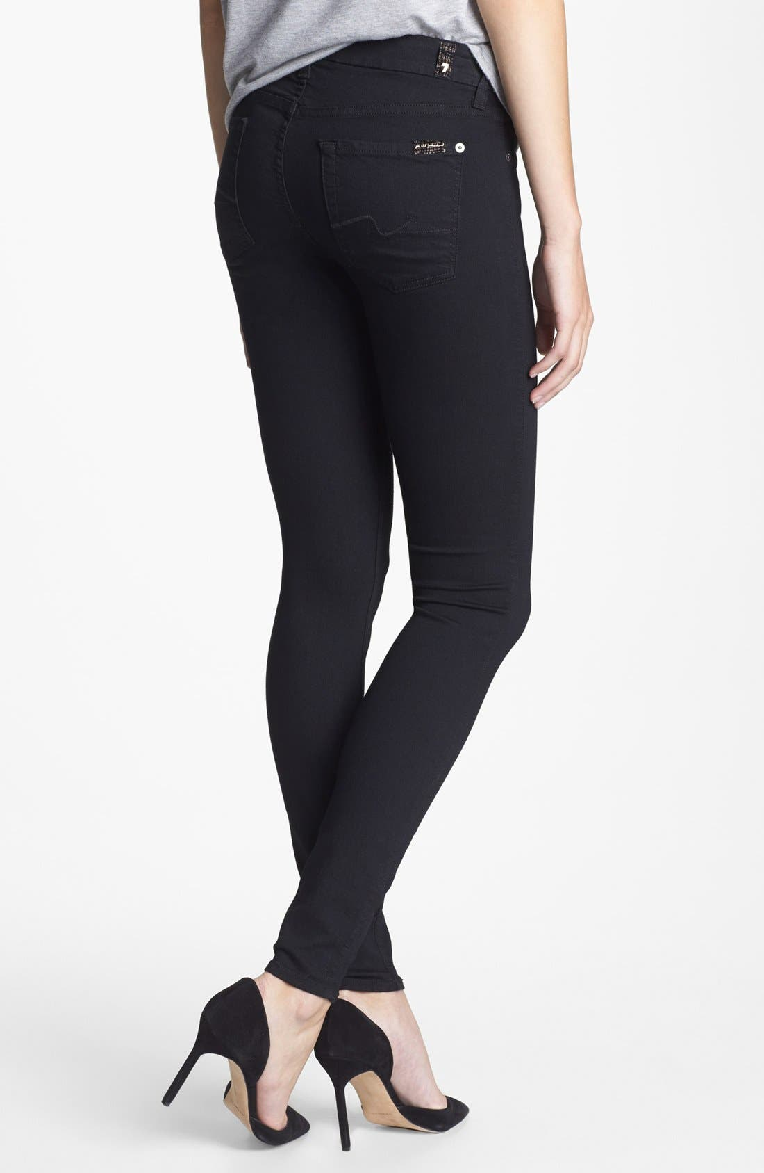 Alternate Image 2  - 7 For All Mankind® Stretch Skinny Jeans (Elasticity Black)