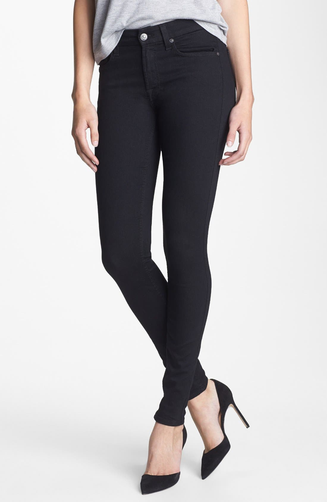 Main Image - 7 For All Mankind® Stretch Skinny Jeans (Elasticity Black)