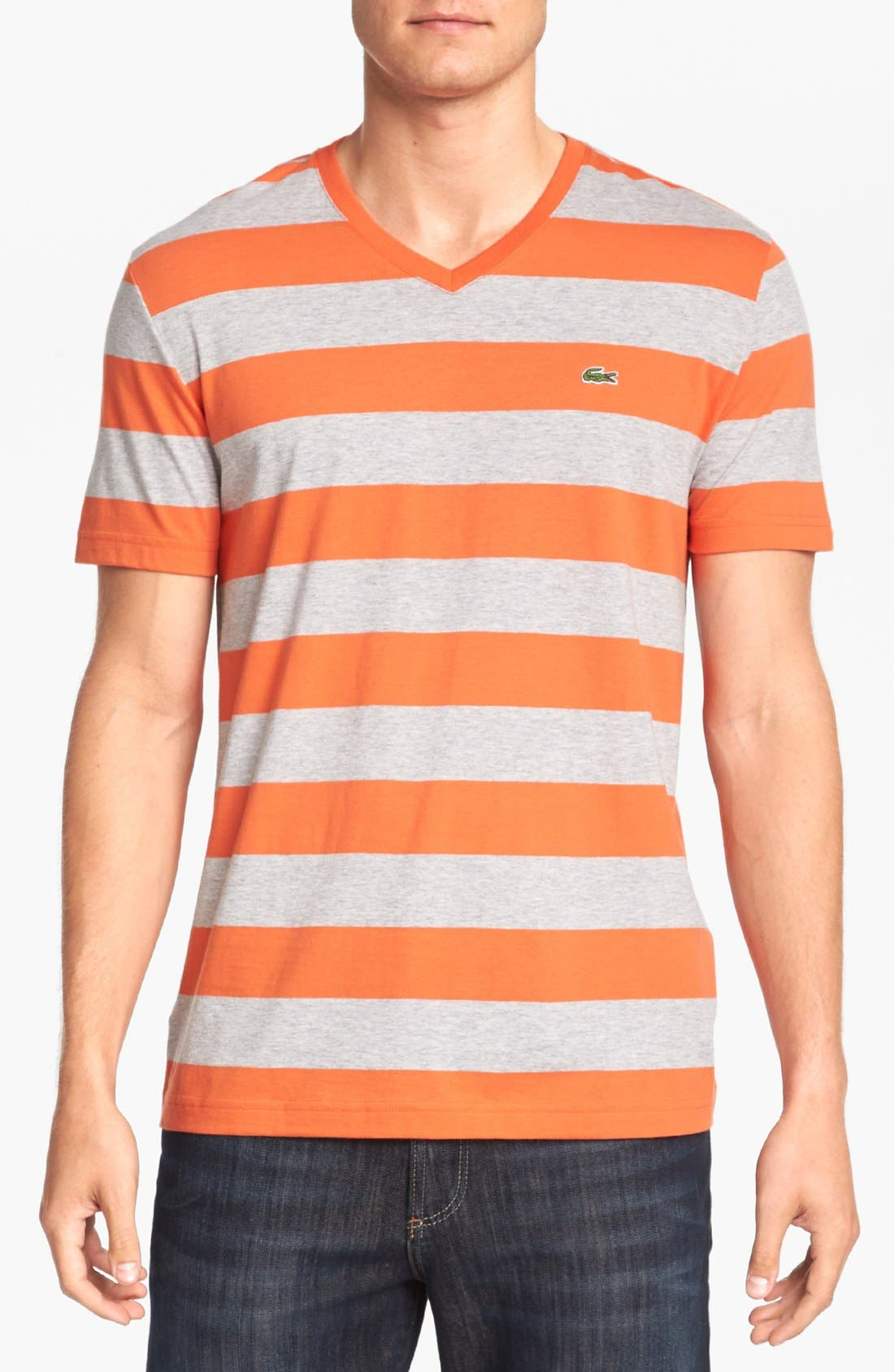 Alternate Image 1 Selected - Lacoste Stripe V-Neck T-Shirt