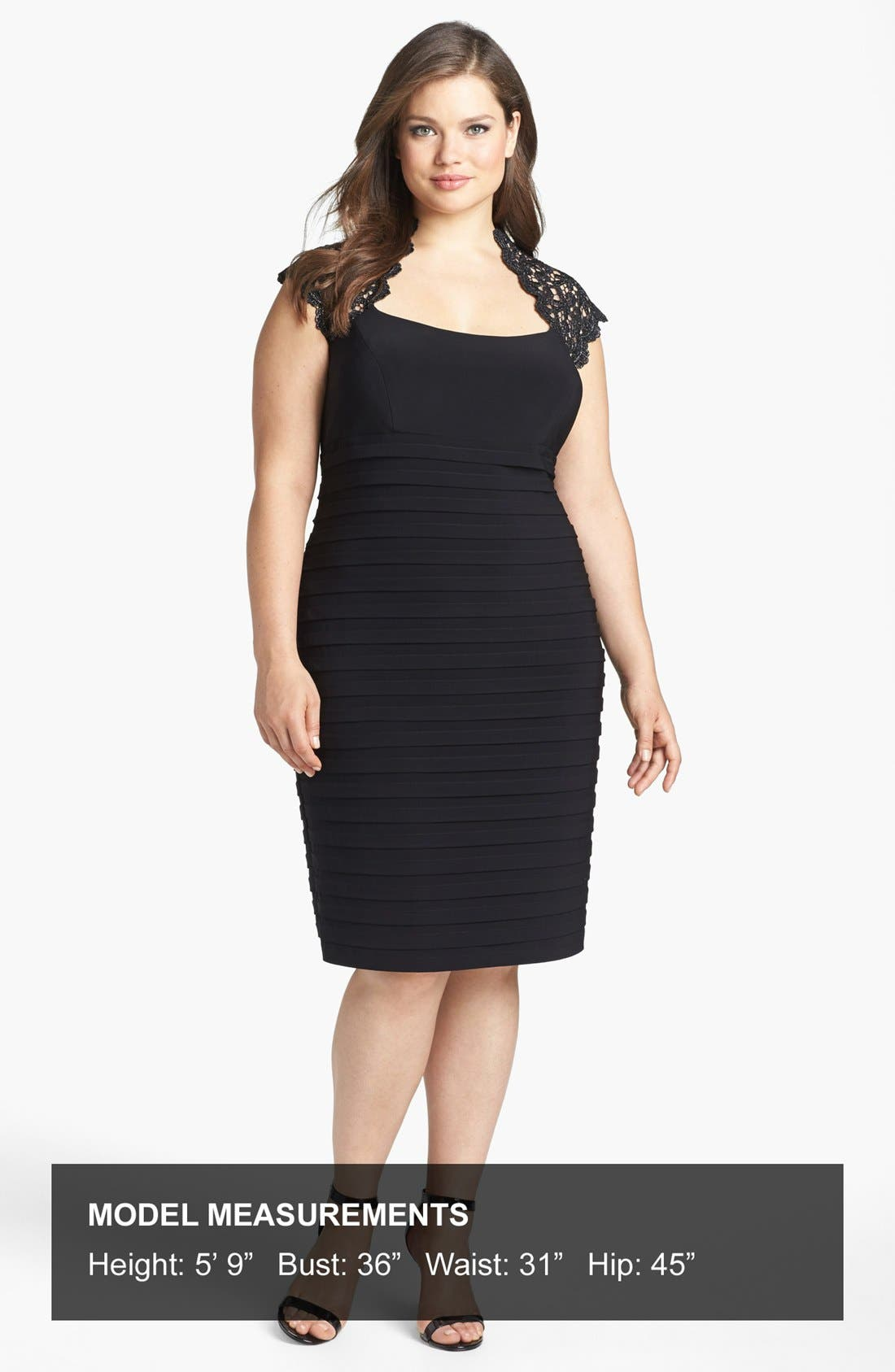 Alternate Image 4  - Xscape Lace Yoke Banded Sheath Dress (Plus Size)