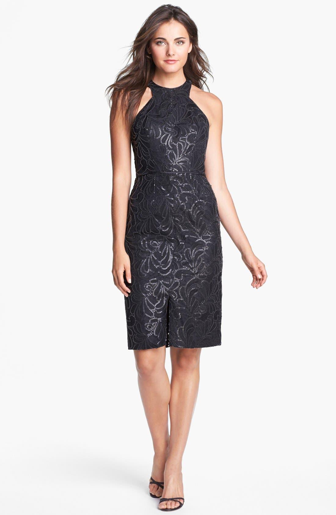 Main Image - Jill Jill Stuart Faux Leather Sequin Embellished Sheath Dress