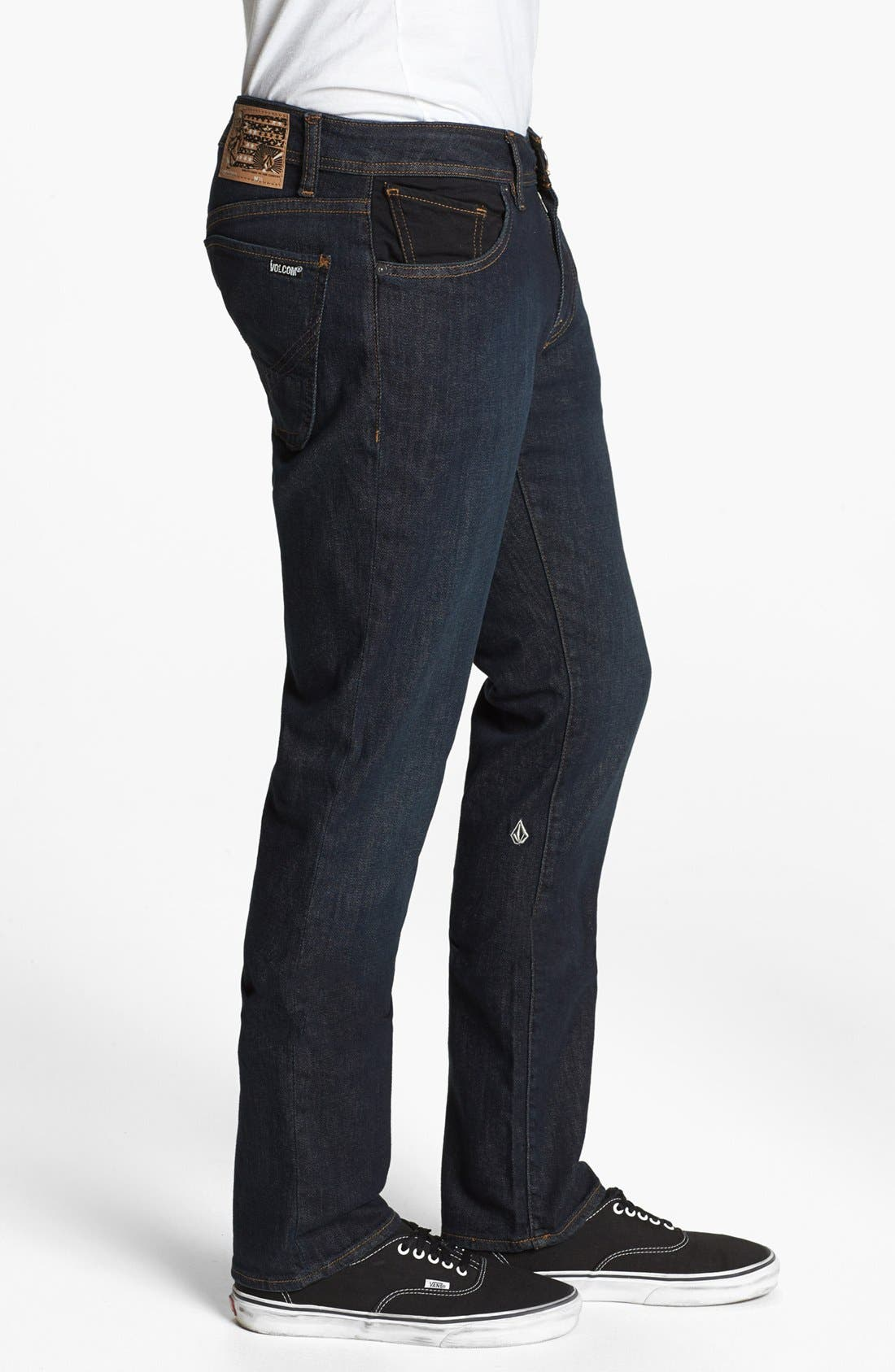 Alternate Image 3  - Volcom 'Vorta' Slim Straight Leg Jeans (Dark Blue Rinse)