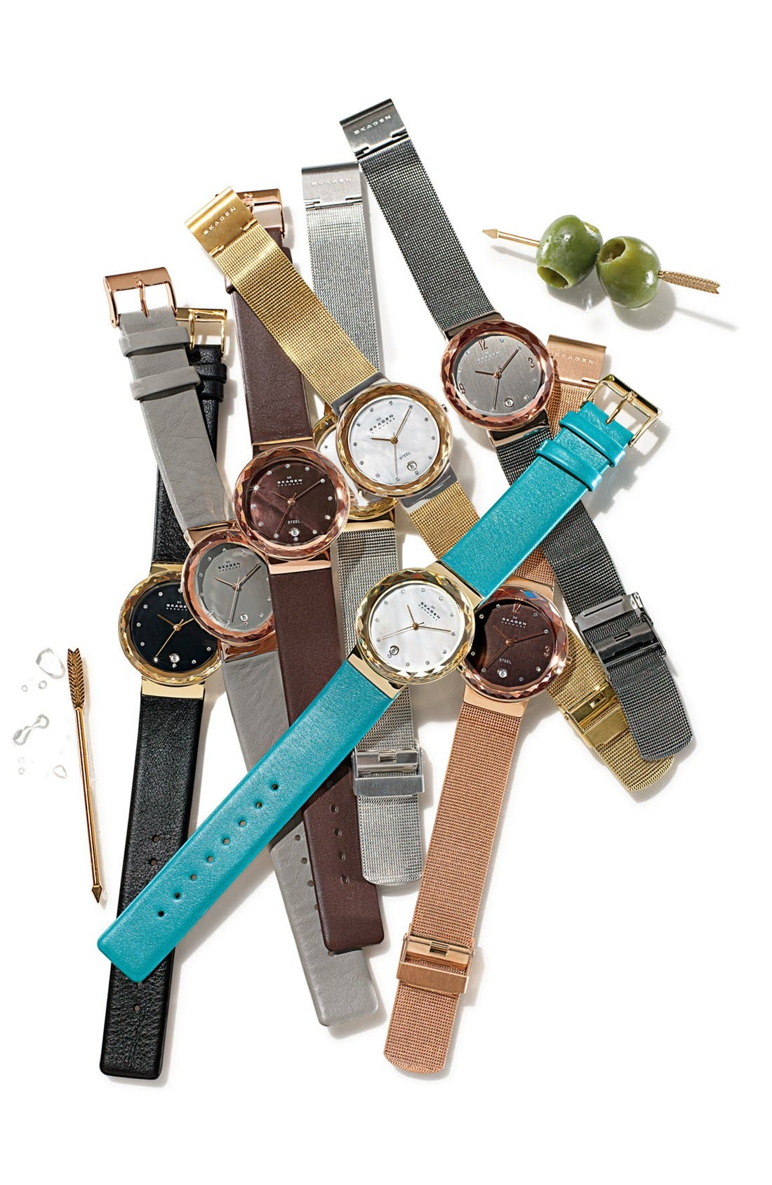 Alternate Image 2  - Skagen Faceted Bezel Leather Strap Watch, 35mm