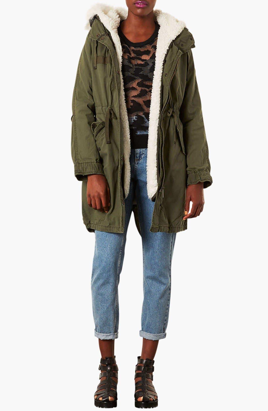 Alternate Image 3  - Topshop 'Joey' Faux Fur Lined Parka (Regular & Petite)