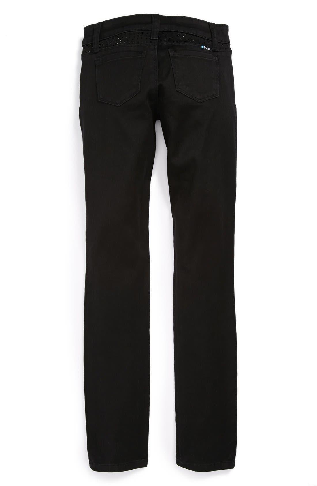 Alternate Image 2  - Tractr Sparkle Skinny Jeans (Big Girls)