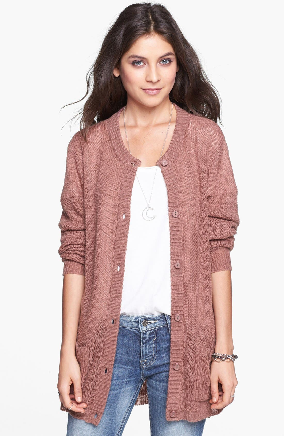Alternate Image 1 Selected - Rubbish® Long Knit Cardigan (Juniors)