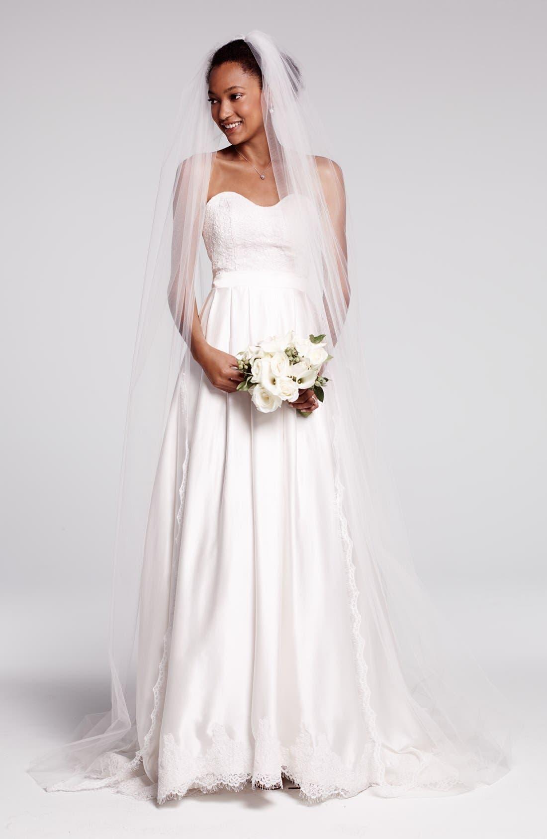 Ebie Lace & Silk Charmeuse Dress,                             Alternate thumbnail 2, color,