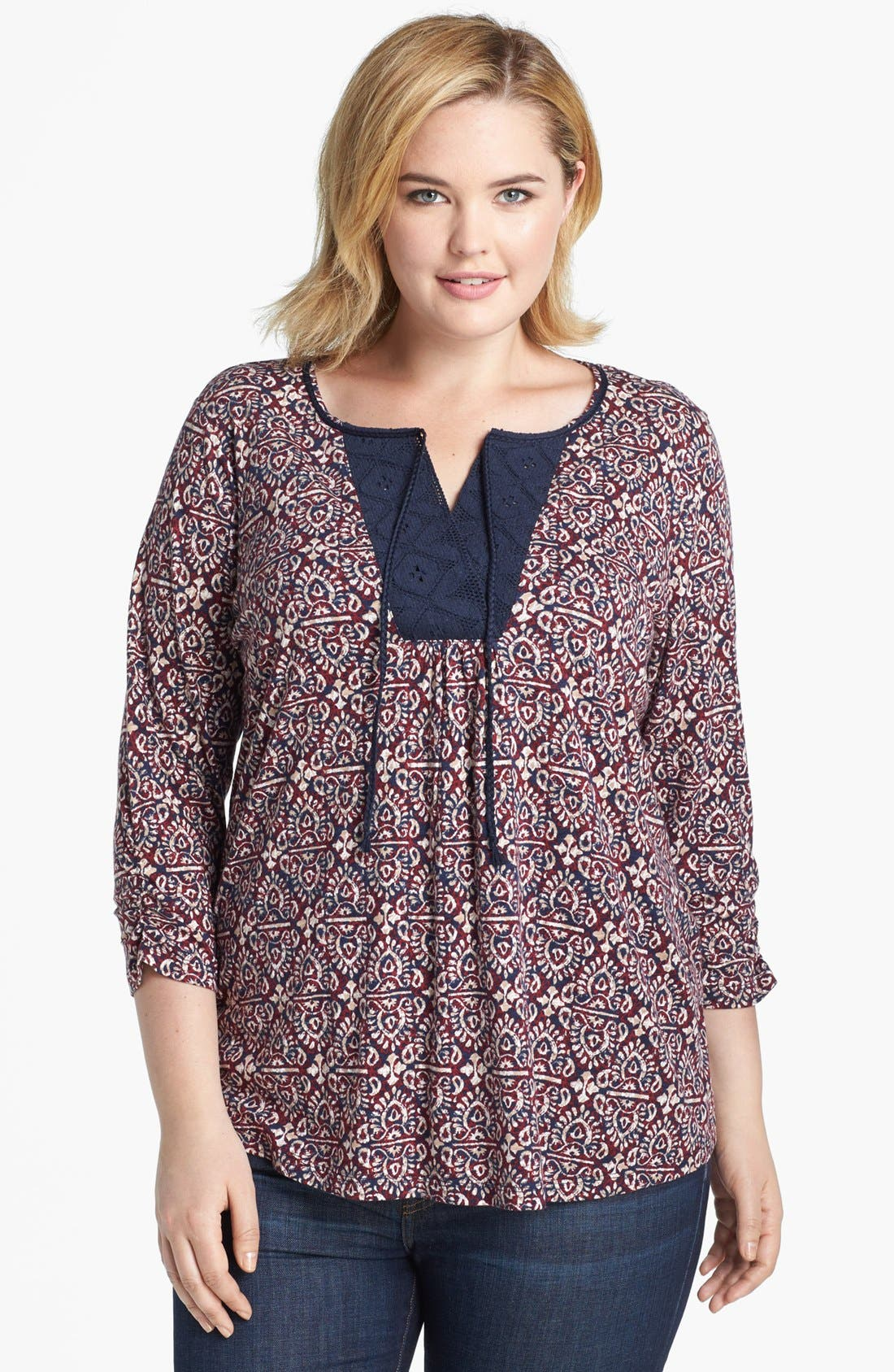Alternate Image 1 Selected - Lucky Brand 'Moroccan' Print Top (Plus Size)