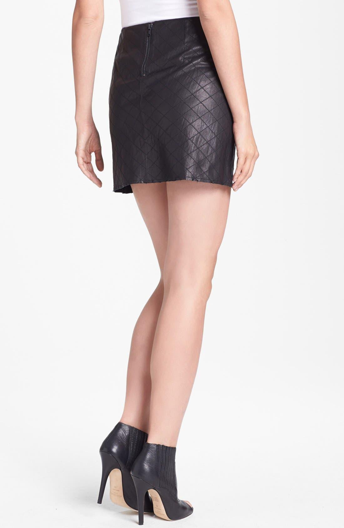 Alternate Image 2  - Alice + Olivia 'Brigatta' Leather Miniskirt