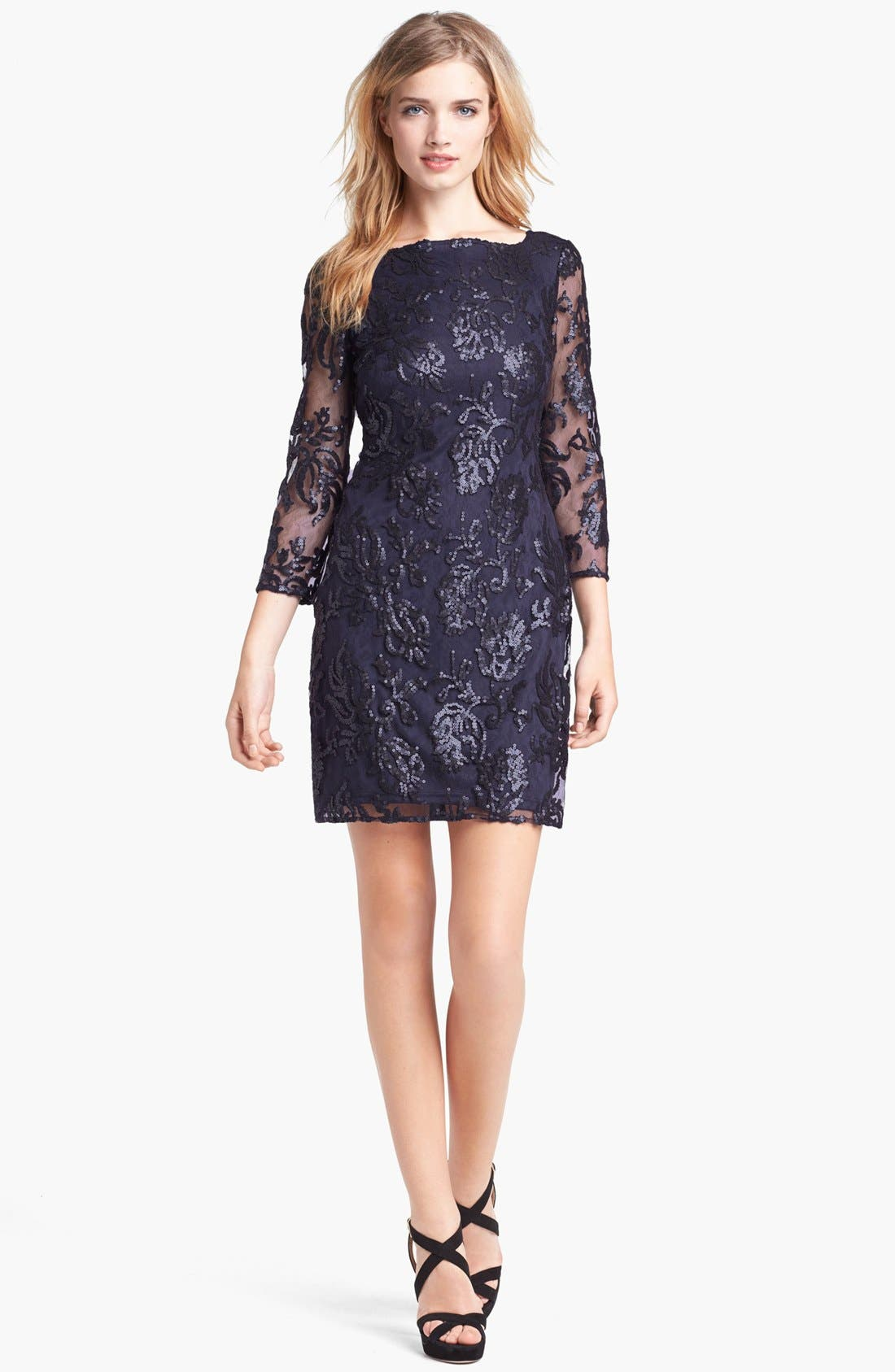 Alternate Image 1 Selected - Adrianna Papell Sequin Lace Dress (Regular & Petite)