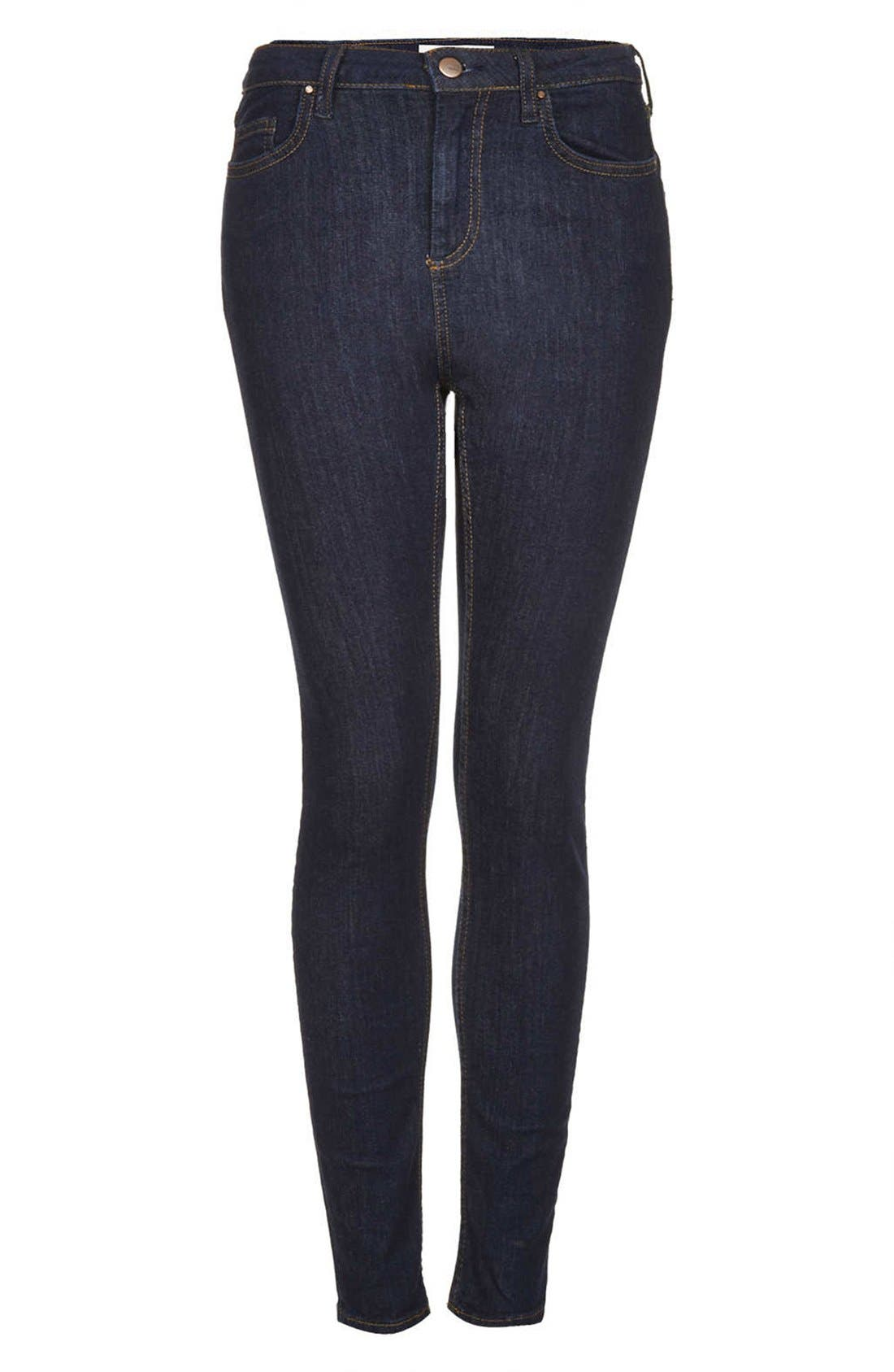 Alternate Image 3  - Topshop Moto 'Jamie' High Rise Skinny Jeans (Blue) (Regular, Short & Long)
