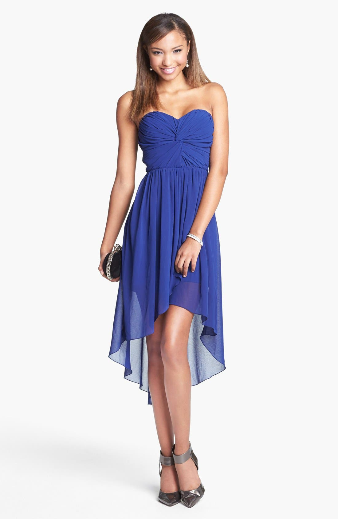 Alternate Image 1 Selected - Way-In Strapless Twist Front High/Low Dress (Juniors)