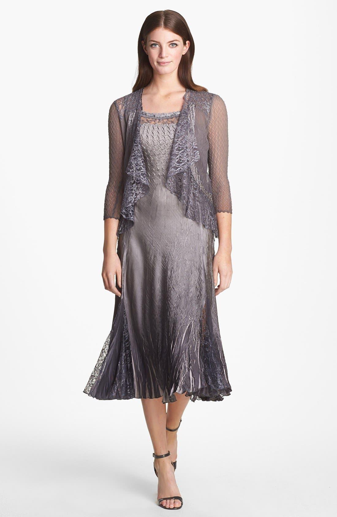 Main Image - Komarov Charmeuse Dress & Chiffon Jacket (Regular & Petite)