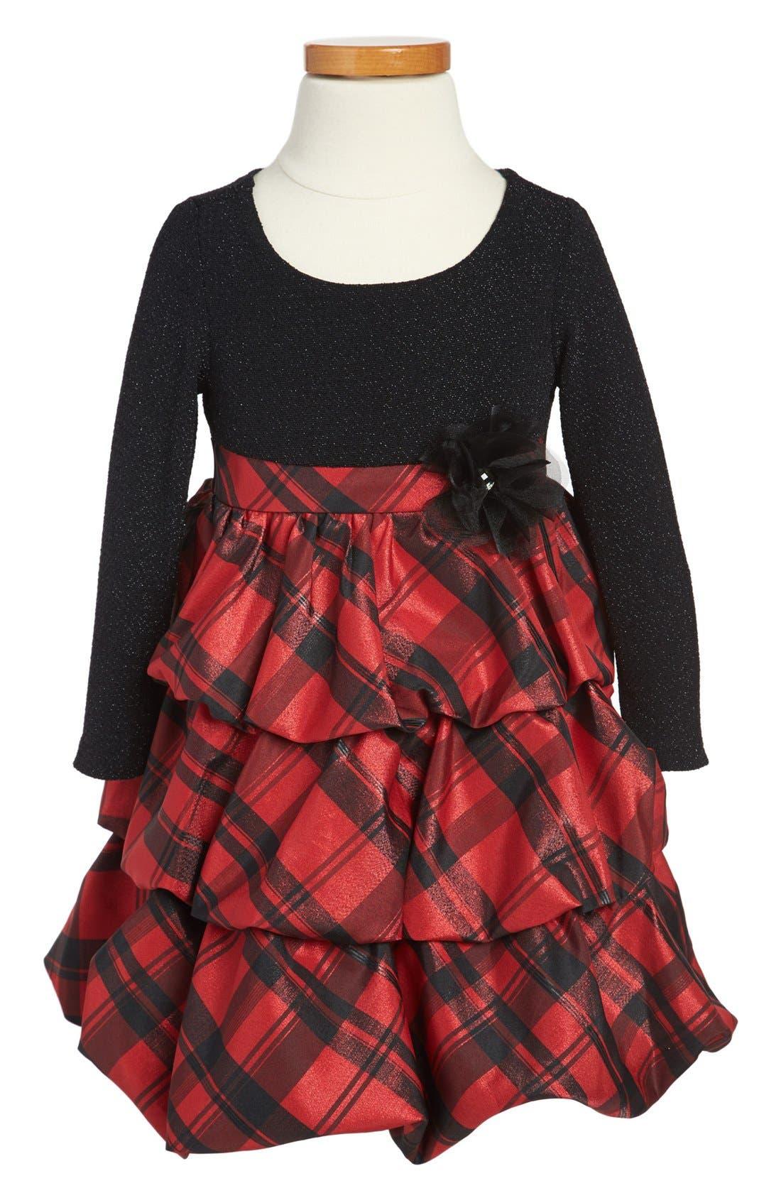 Main Image - Iris & Ivy Tartan Taffeta Dress (Toddler Girls)