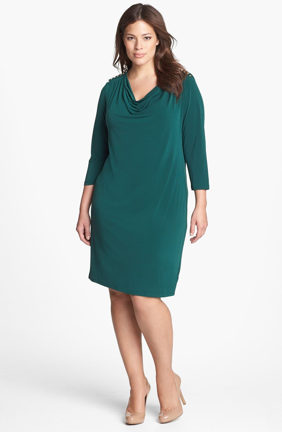 Alternate Image 1 Selected - MICHAEL Michael Kors Chain Embellished Draped Jersey Dress