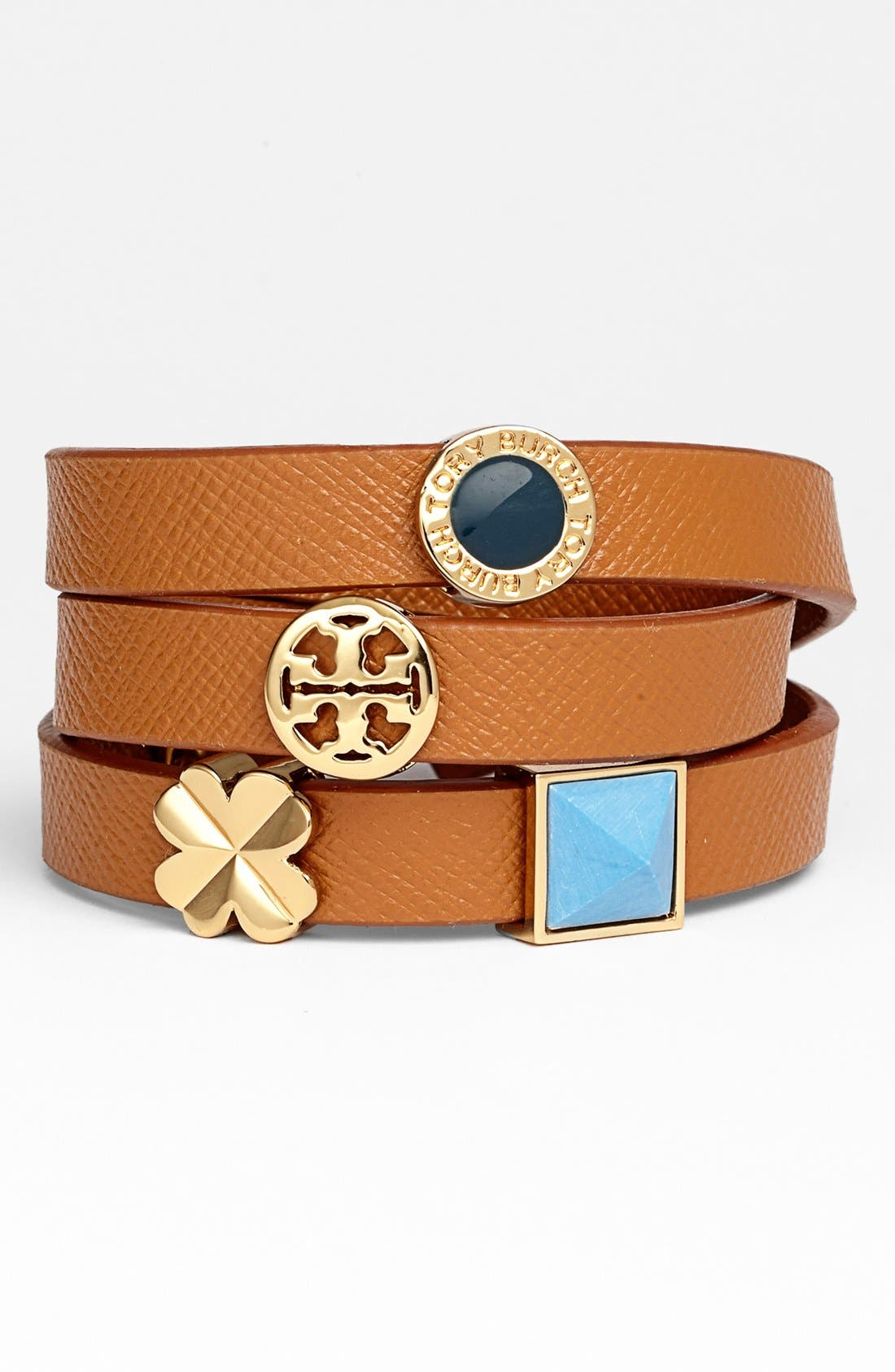 Main Image - Tory Burch Sliding Charms Leather Wrap Bracelet
