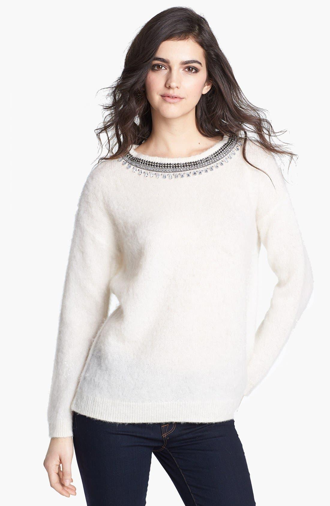 Main Image - Hinge® Jewel Neck Textured Sweater