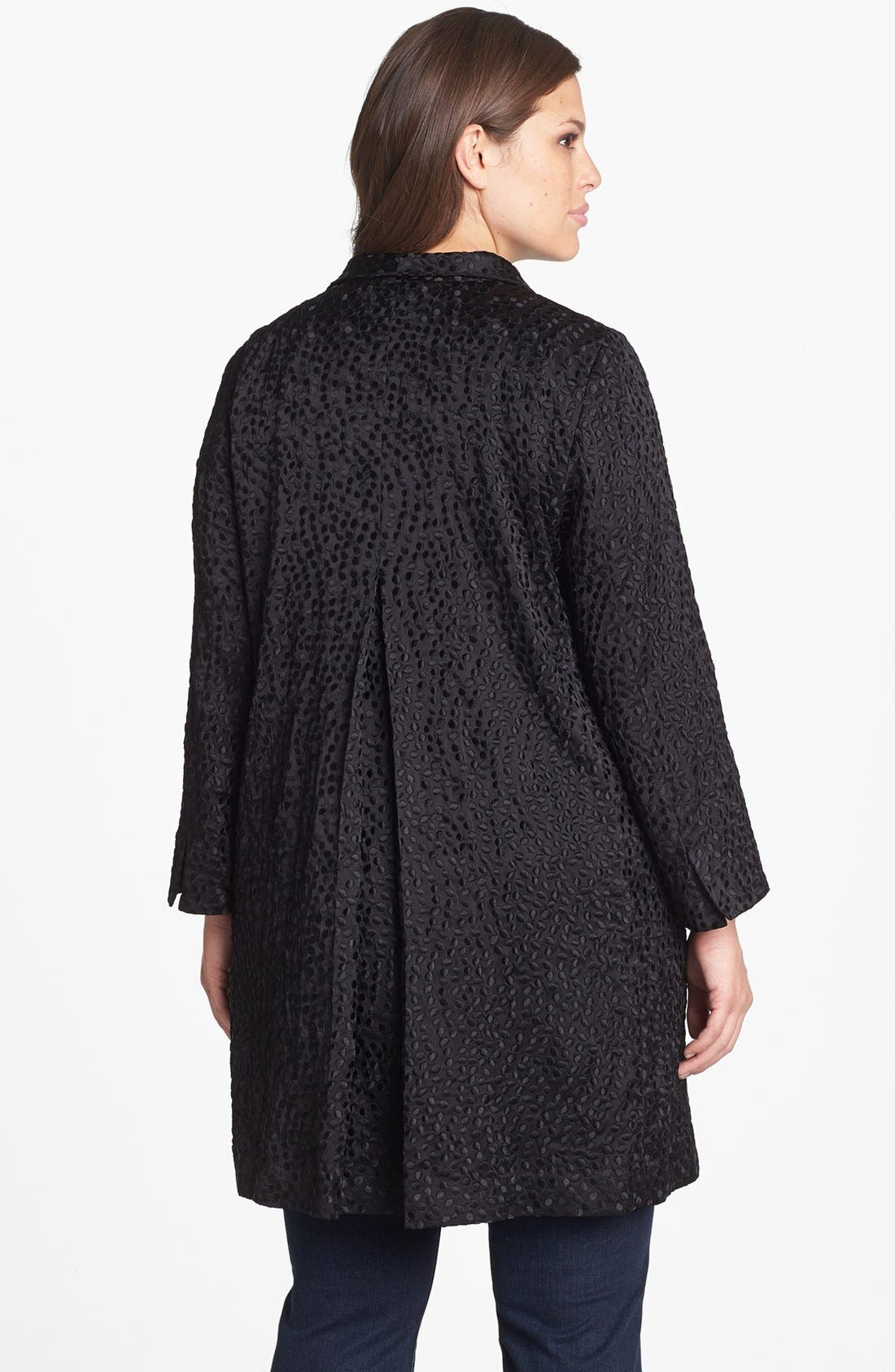 Alternate Image 2  - Eileen Fisher Embroidered Silk Coat (Plus Size)