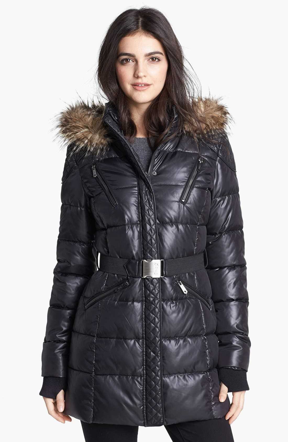 Main Image - Circus by Sam Edelman Faux Fur Trim Quilted Coat (Online Only)