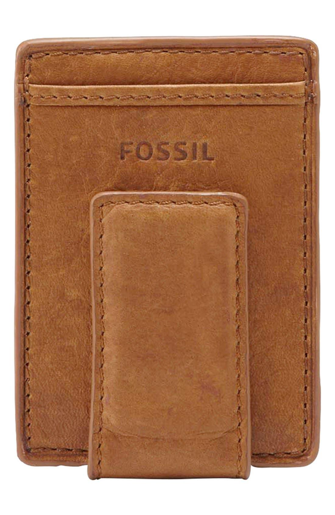 Alternate Image 1 Selected - Fossil 'Ingram' Leather Magnetic Money Clip Card Case