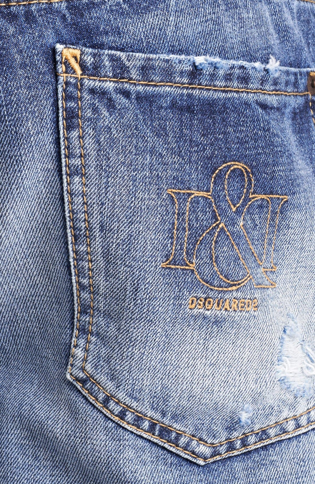 Alternate Image 4  - Dsquared2 'Dean' Slim Fit Jeans (Distressed Blue)