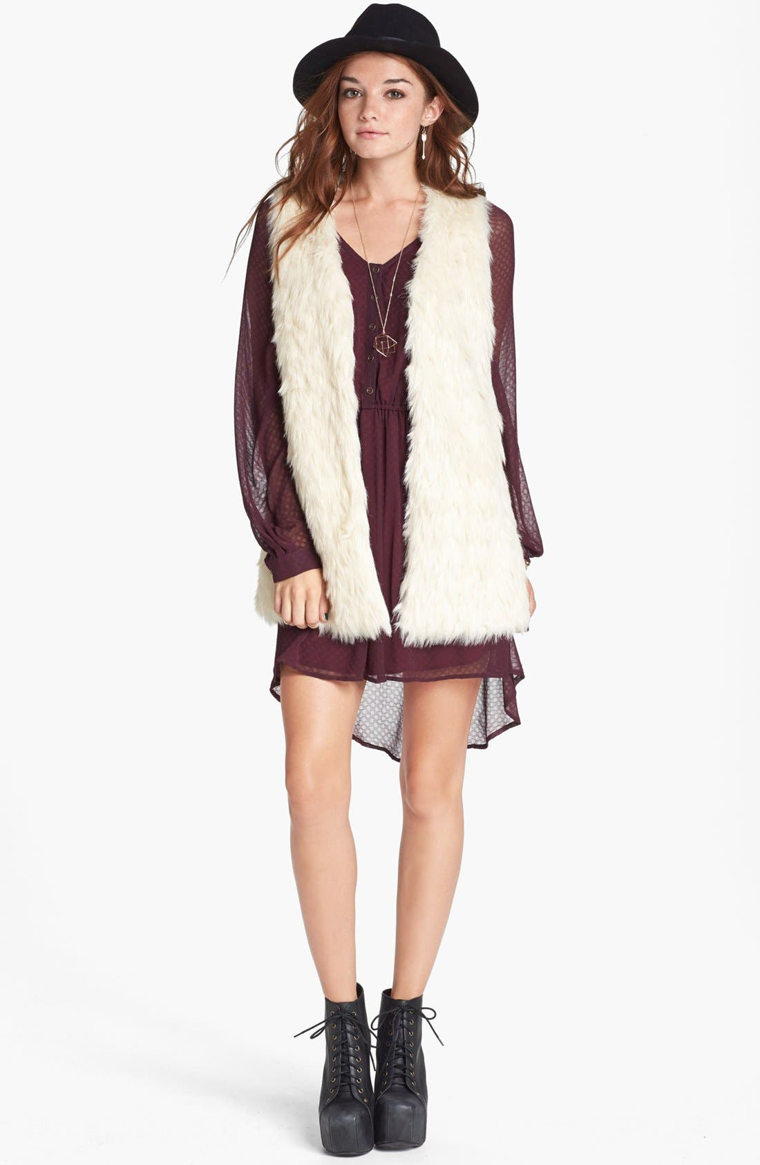 Main Image - Jack Faux Fur Long Vest (Juniors)